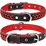 TagME Hundehalsband Leder für Welpen Hunde,Geflochtenes, Weich Gepolstert Hundehalsbänder mit Doppelten D-Ringen, Rot XS