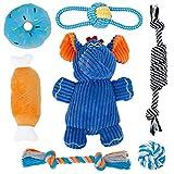 Toozey Elefant Welpenspielzeug Hundepielzeug - 7 STK Langlebiges Hundepielzeug für Welpen/kleine Hunde - Kauspielzeug und Hundepielzeug kleine Hunde - Naturbaumwolle