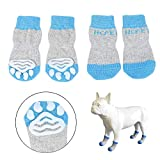 Hcpet Anti-Rutsch Hund Socken, Set of 4 Hundesocken für Innenbereich, Pfotenschutz für klein und Mittel Hund (Blau, S)