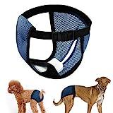 LeerKing Höschen Hündin Hundehose 2er Pack mit Damenbinde für die Monatsblutung Waschbare Schutzhöschen Hundewindeln schutzhose 3 Größe für Hündinnen und Katzen Blau M