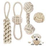Hundespielzeug Seil mit Knoten Ball, 4 Stück Kauen Hundespielzeug Set für Kleine Hunde/ Mittlere, Welpen Spielzeug für Hunde Zahnpflege, aus Natürlicher Baumwolle -Weiß
