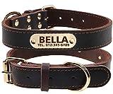 TagME Personalisierte Hundehalsbänder aus Leder mit Eingraviertem Namen und Telefonnummer / Hundehalsbänder aus Echtem Leder für Mittlere und Große Hunde / Braun