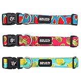 azuza Hundehalsband, 3 Stück, niedliches und stilvolles Nylon, für Welpen/Haustiere, für kleine und mittelgroße Hunde, M (Neck:14'' - 20''), 3 Pack (Fruit)