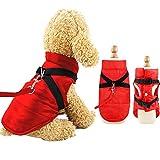 Eastlion Winter Hundemantel Warm Wasserdicht Hundejacke Welpen Hunde Kleidung Bekleidung Weste mit D-Ring,Rot,Größe 2XL