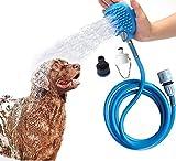 Haustier Duschkopf,Beinhome Haustier Badewerkzeug Duschkopf für Hunde mit Bürste,7.5 Fuß PVC Schlauch und 2 Schlauchadapter für Hund,Katze