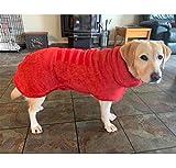 Badetuch Hund Bademantel, Hundebademantel aus Mikrofaser, Super absorbierend Handtuch, verstellbares Magic-Tape-Design in Hals und Taille – Rückenlänge 45 cm für mittelgroße Hunde
