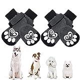 KOOLTAIL Hundesocken Anti-Rutsch Hundepfotenschutz, Hundeschuhe, 2 Paar verstellbare Hundesocken für Haustiere, für drinnen und draußen, zum Ausführen