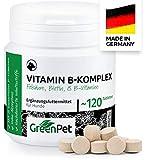 GreenPet Vitamin B Komplex für Hunde - 8 B Vitamine, Biotin, Folsäure, Mineralstoffe, Hochdosierte Vitamine für Hunde (Senior), Junge und Welpen, Made in Germany, 120 Tabletten für bis zu 4 Monate