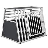 EUGAD Hundetransportbox Alu Hundebox Reisebox Autobox für große Hunde Husky Samojede Weimaraner Border Collie Chow-Chow Shetland Sheepdog 80 x 65 x 65 cm XL 0007LL