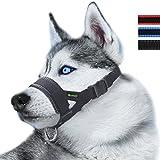 ILEPARK Maulkorb aus Nylon um Hunde vom Beisen, Bellen und Kauen abzuhalten, anpassbare Schlinge (XL,Schwarz)