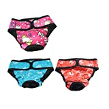 UEETEK 3 Pcs Hundewindeln Inkontinenz einstellbar und waschbar Hundeschutzhose für Hündinnen Baumwolle Unterwäsche Größe L