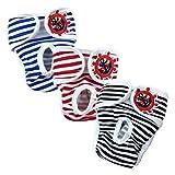 E-Kauf 3er Pack Waschbar Schutzhose Hygieneunterhose aus Baumwolle für Hündin (XL)
