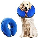Supet Halskrause Hund Schützender Aufblasbarer Hundekragen Schutzkragen Kragen für Haustiere Einstellbar Bequem Schutzkragen mit Klettverschluss