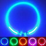 PetSol LED Leuchthalsband für Hunde USB Aufladbar LED Hundehalsband Stück hundehalsband Leuchtend Wiederaufladbares und Längenverstellbareres mit DREI Beleuchtungsmodi für Hunde und Katzen (Blau)
