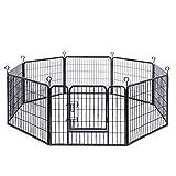 FEANDREA Welpenauslauf, Freigehege für Hund, 8 Gitter je 77 x 60 cm, schwarz
