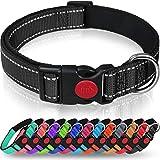 Taglory Hundehalsband, Weich Gepolstertes Neopren Nylon Hunde Halsband für Mittlere Hunde, Verstellbare und Reflektierend für das Training, Schwarz
