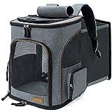 Lekesky Erweiterbar Hunderucksack Katzenrucksack für Katzen und Hunde, Faltbare Haustier Rucksack mit Innerer Sicherheitsleine