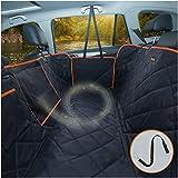 iBuddy Hundedecke für Auto Rücksitz, wasserdichtes Autoschondecke Kratzfest rutschfest Abriebfest mit Sicherheitsgurt, Rücksitzbezüge für Auto/Van/SUV (B075MCHYZV, Black with orange)
