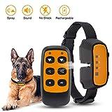 ULTPEAK Antibell Halsband, 2 in 1 Fernbedienung & Auto Erziehungshalsband, Wiederaufladbares Elektrohalsband Hunde Spray & Sound