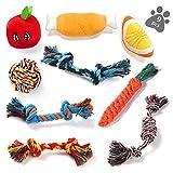 ASANMU Welpenspielzeug, 9 Stück Hundespielzeug Kauspielzeug Hunde Spielzeug Set Baumwollknoten Spielset Seil Interaktives Hundespielzeug für Welpen Kleine & Mittlere Hunde für Zahnreinigung Geeignet