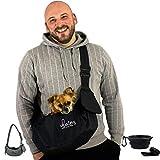 dainz® Hunde-Tragetasche/Hundetasche für kleine Hunde & Katzen bis maximal 3kg inkl. Anschnallgurt & Zubehör | Hunde-Tragetuch für kranke & alte Hunde | Welpen-Tasche für langes Gassi gehen