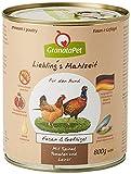 GranataPet Liebling's Mahlzeit Fasan & Geflügel, Nassfutter für Hunde, Hundefutter ohne Getreide & ohne Zuckerzusätze, Alleinfuttermittel, 6 x 800 g