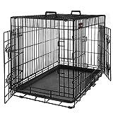 FEANDREA Hundekäfig, Hundebox, klappbar, 77,5 x 48,5 x 55,5 cm, schwarz PPD30H