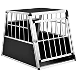 Sam´s Pet Alu Hundetransportbox L-X - 65 × 91 × 69 cm – Auto Hundebox robust & pflegeleicht – Gittertür verschließbar - Aluminium Reisebox für Hunde