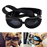 Namsan Sonnenbrillen für Hunde UV Schutzbrille Wasserdichter Einstellbar Hundebrille für Kleine Hunde/Katzen -Schwarz