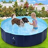 Wimypet Hundepool Schwimmbad für Hunde, Hundeplanschbecken Hundebad, Klappbares Haustier Duschbecken mit Umweltfreundlichem PVC rutschfest
