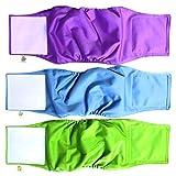 PET MAGASIN Windeln für männliche Hunde, Größe S, Blau, Grün und Violett, 3 Stück