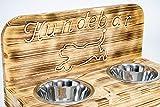 Hunsrück Manufaktur Hundebar S Futterbar inkl. 2X 700ml Futternapf für Hund Futterstation   Mit Rückwand für kleine bis mittlere Hunde