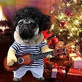 Idefair Lustige Gitarrenhund Kostüme Haustierbekleidung Hundekleidung Anzug für Welpen Kleine Mittlere Hunde Chihuahua Teddy Pug Weihnachten Party Halloween Kostüme Outfit (L)