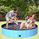BOIROS Hundepool 160cm, Hundepool fur Große & Kleine Hunde, Schwimmbecken für Hunde, Hunde Planschbecken für Kinder und Hunde, PVC tragbare Faltbare Hunde Pools, Klappbares Haustier-Duschbecken