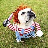 Okssud Hundekostüm Weihnachtsfeier Hundebekleidung & Zubehör Halloween Rollenspiele Verkleidungen & Kostüme für Hunde Lustige Hunde-Party-Kostüme - Mit Einer Perücke, M