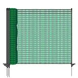 VOSS.farming Gartennetz Universal Begrenzungszaun Classic 20 m Premium, 80 cm, 12 Pfähle, dunkelgrün, Hundezaun, Welpenzaun, Beetschutz