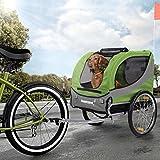 Happypet Hundeanhänger Fahrradanhänger für Hunde Hundefahrradanhänger inkl. Anhängerkupplung Regenschutz Leave GRÜN