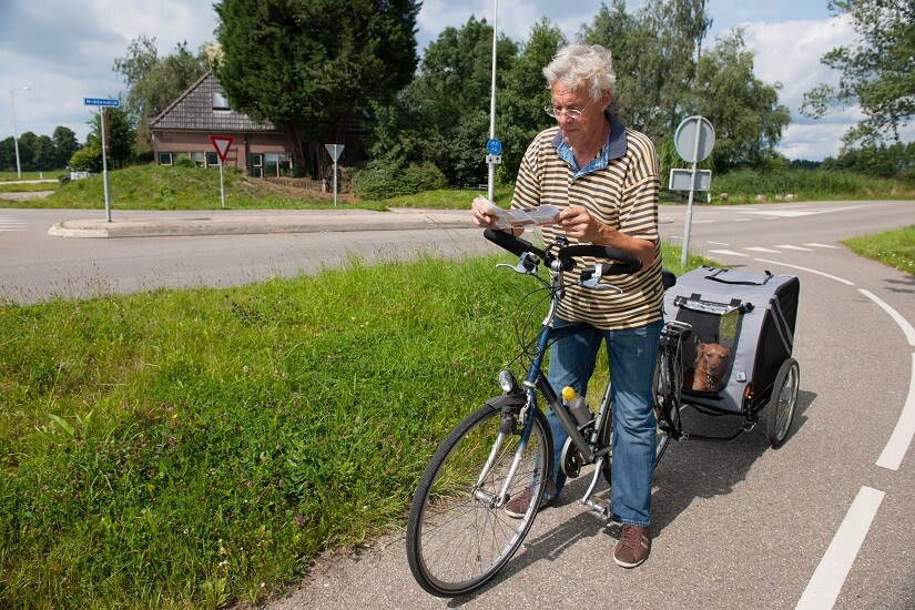 Radfahren mit Hund im Anhänger