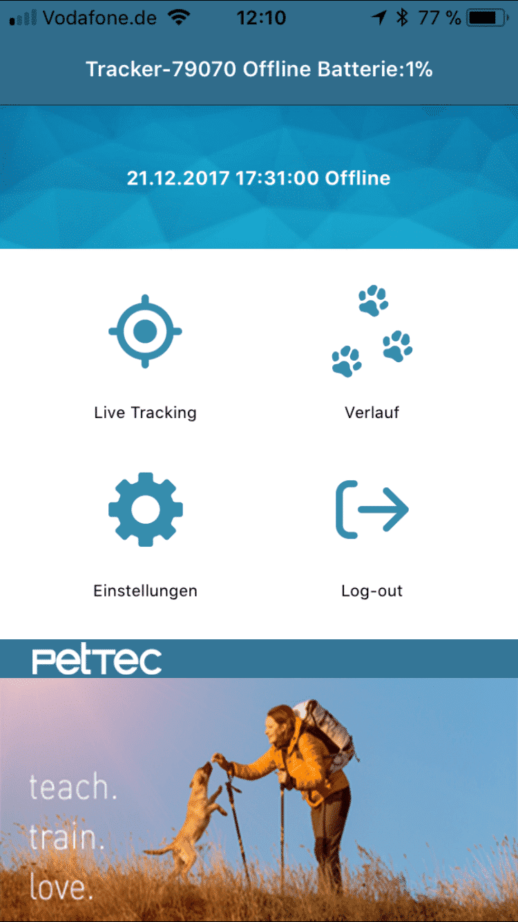 PetTec GPS Tracker Smartphone APP