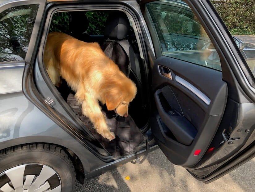 Die Seitenteile schützen beim Aussteigen Bezug und Lack des Autos